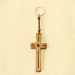 "Large Brown Bone Cross Key Chain (cross 3.5 x 1.5"")"