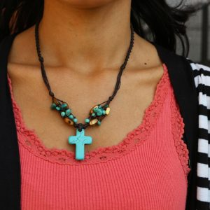 Blue Howlite Cross and Mother of Pearl bead Necklace 18""