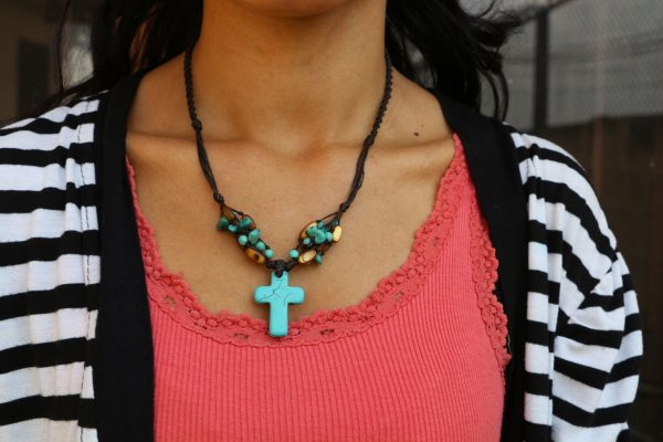 """Blue Howlite Cross and Mother of Pearl bead Necklace 18"""""""