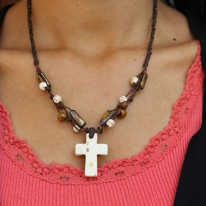 White Howlite Cross and Mother of Pearl bead Necklace 18""
