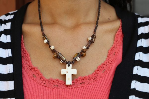 """White Howlite Cross and Mother of Pearl bead Necklace 18"""""""