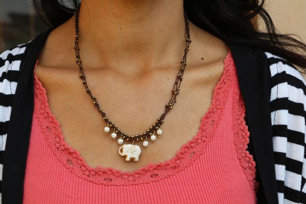 """Multiline White Howlite Elephant Necklace on braided brown cord 17"""""""