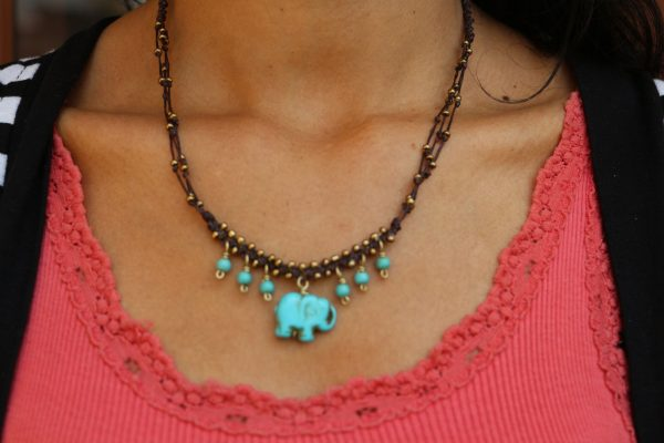 Multiline Blue Howlite Elephant Necklace on braided brown cord17""