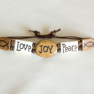 Water buffalo bone charms Love, Joy, Peace Bracelet