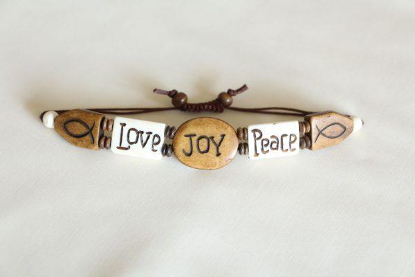 Water buffalo bone charms Love, Joy, Peace Bracelet
