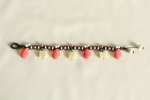 """Coral Howlite and White Water Buffalo Bone Bead Bracelet on Black Cotton Cord with a Button Bead Lock 8-9"""""""
