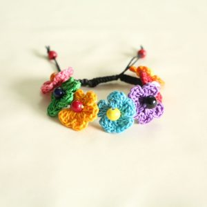 Multicolor Crochet Flowers and Glass Bead Bracelet on Black Cotton Cord Braided Closure