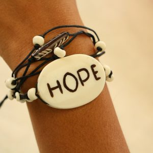 Multiline Hope White Water Buffalo Bone Bracelet on Black Cord Adjustable 7-11""