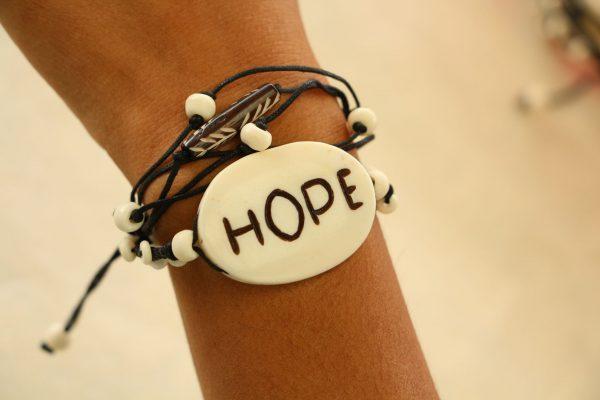 "Multiline Hope White Water Buffalo Bone Bracelet on Black Cord Adjustable 7-11"""