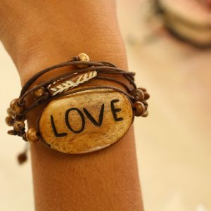 Multiline Love Brown Water Buffalo Bone Bracelet on Brown Cord Adjustable 7-11""