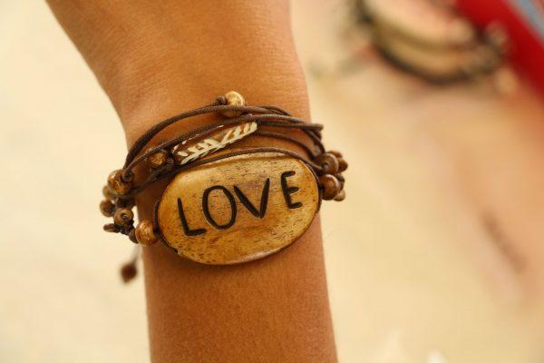 "Multiline Love Brown Water Buffalo Bone Bracelet on Brown Cord Adjustable 7-11"""