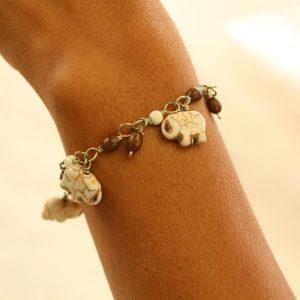 "Brown & White Howlite Elephant Charm Bracelet 7.5-8"""