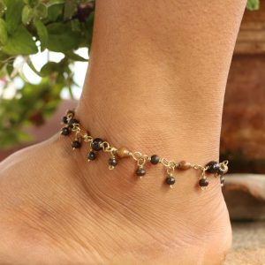Brown & Black Water Buffalo Bone Bead Ankle Bracelet on wrapped wire Adj. 11""