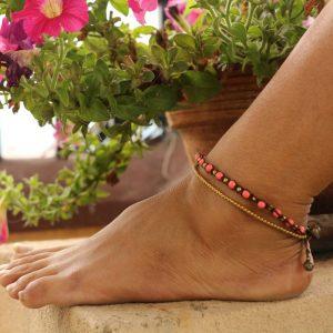 "Pink Howlite and Metal Bead 2-line Ankle Bracelet on Brown Cord Adj. 10-10.5"""
