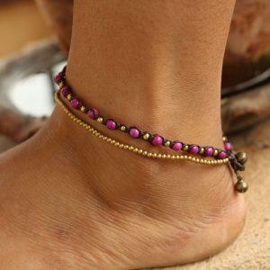 "Purple Howlite and Metal Bead 2-line Ankle Bracelet on Brown Cord Adj. 10-10.5"""