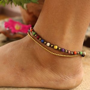 Mixed color Howlite and Metal Bead 2-line Ankle Bracelet on Brown Cord Adj. 10-10.5""