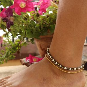 White Howlite and Metal Bead 2-line Ankle Bracelet on Brown Cord Adj. 10-10.5""