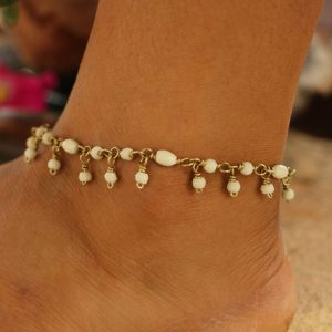 White Water Buffalo Bone Bead Ankle Bracelet