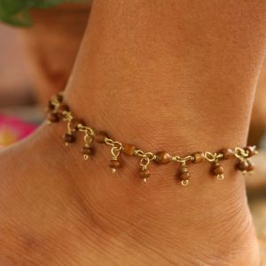 Brown Water Buffalo Bone Bead Ankle Bracelet