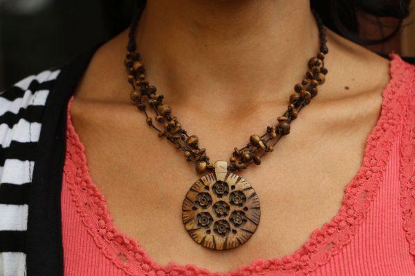 "Brown Water Buffalo Bone Beaded Necklace with Bone Amulet Adj. 17-18"""