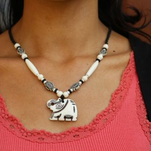 White Water Buffalo Bone Elephant Beaded Necklace on Black Braided Cord 19""
