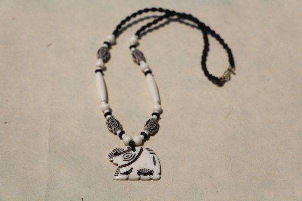 """White Water Buffalo Bone Elephant Beaded Necklace on Black Braided Cord 19"""""""