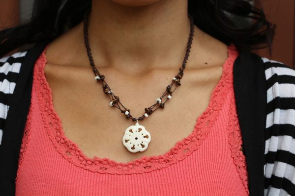 White Flower Water Buffalo Bone Bead Necklace on a Brown Braided Cord