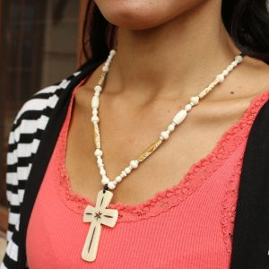 "White Cross Water Buffalo Bead Necklace 20.5"""