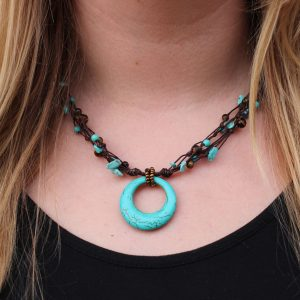 Blue Howlite and Tiger Eye Beaded Necklace with a Howlite Ring Pendant. Brown Braided Cord 19""