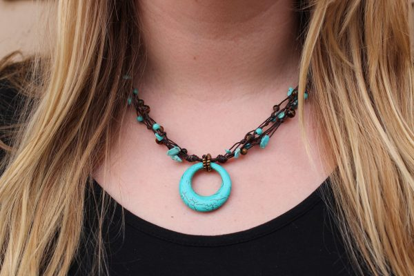 """Blue Howlite and Tiger Eye Beaded Necklace with a Howlite Ring Pendant. Brown Braided Cord 19"""""""