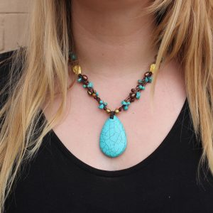 "Multi-line Blue Howlite, TigerEye and Brown Pearl Necklace on knotted cord 20"" (1.5""x2"" Howlite Pendant)"