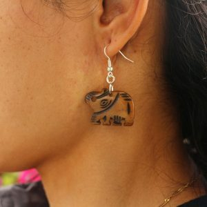 Brown Water Buffalo Bone Earring - Elephant 1.5""