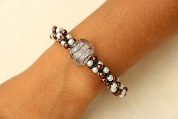 Brown and White Glass Beaded Bracelet Adjustable 7.5-8""