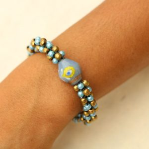 Blue and Gold Beaded Bracelet Adjustable 7.5-8""
