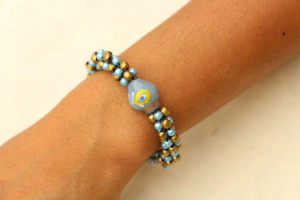 """Blue and Gold Beaded Bracelet Adjustable 7.5-8"""""""