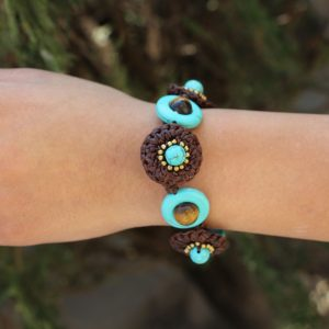 Brown and Turquoise Howlite Woven Bracelet Adjustable 7.5-8.5""