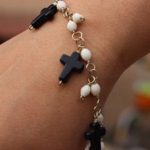 Black and White Howlite Charm Bracelet 7.5-8""