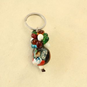 Multi-colored Glass Bead Cluster Key Chain