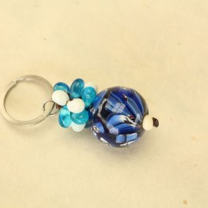 Blue and White Glass Bead Cluster Key Chain