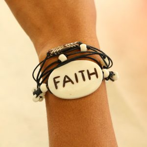 "Multiline Faith White Water Buffalo Bone Bracelet on Black cord Adjustable 7-11"""