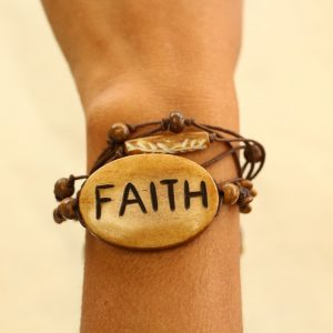 Multiline Faith Brown Water Buffalo Bone Bracelet on Brown Cord Adjustable 7-11""