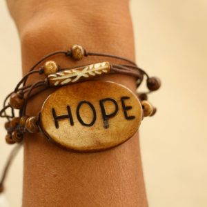 Multiline Hope Brown Water Buffalo Bone Bracelet on Brown Cord Adjustable 7-11""