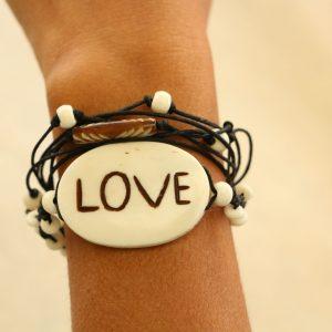 "Multiline Love White Water Buffalo Bone Bracelet on Black cord Adjustable 7-11"""