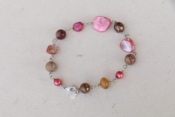 "Jasper and Mixed color Mother of Pearl beads on wrapped wire 9.5"" bracelet"