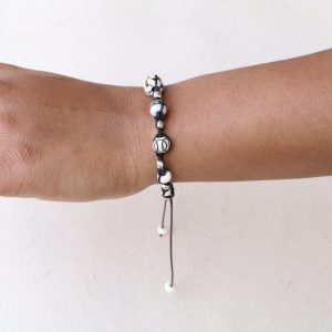 White bone beads with silver accents